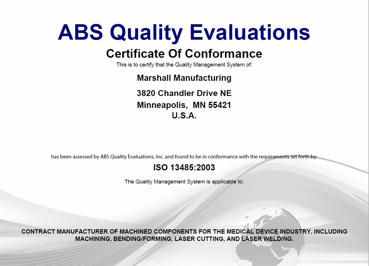 Marshall is ISO 13485:2003 Certified