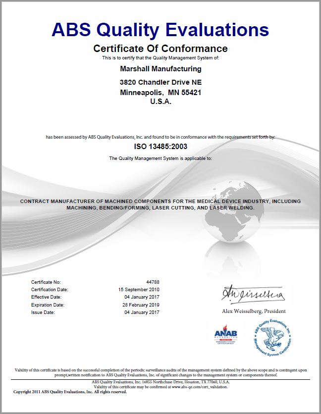 Quality - Marshall Manufacturing - Medical Device Manufacturing