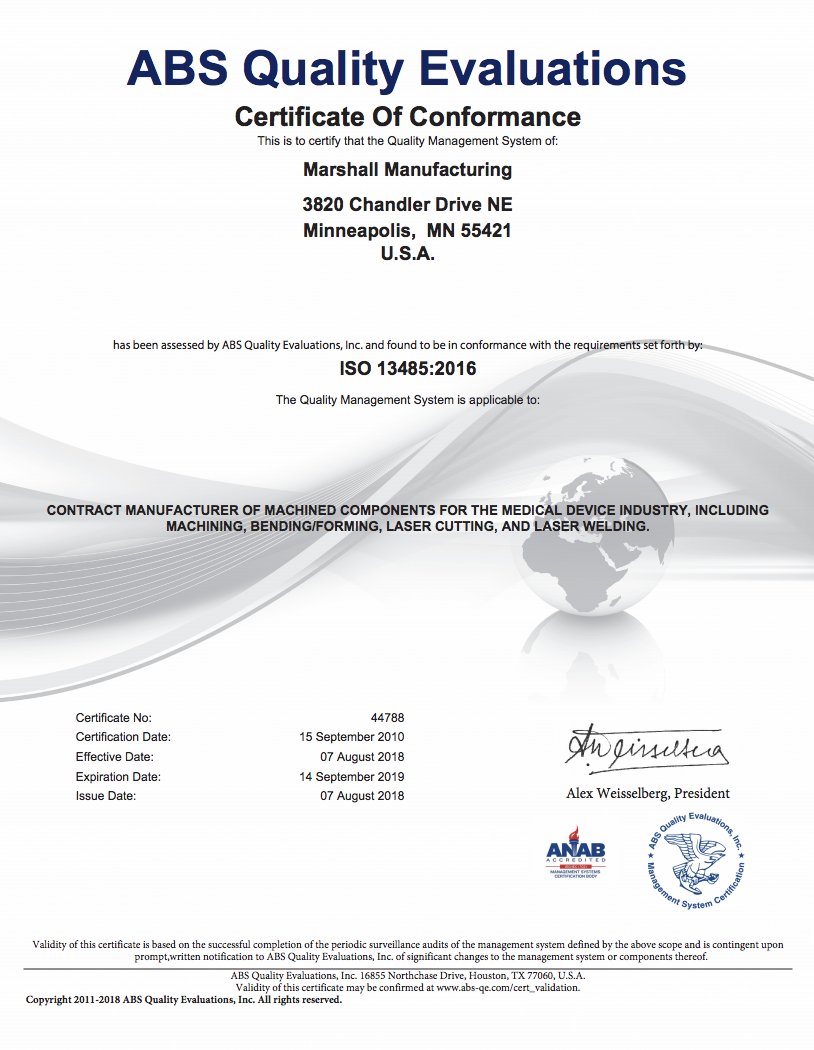 Marshall is ISO 13485:2016 Certified